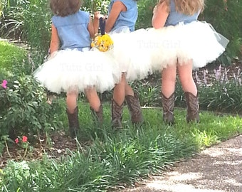 Flower Girl Tutu Skirt, Ivory Rustic Tutu, Cream Tulle Skirt