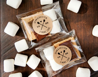 S'more Love Stickers - Personalized Wedding Favors, Shower Favors - DIY Food Favor - Outdoor Celebration - 20 Stickers