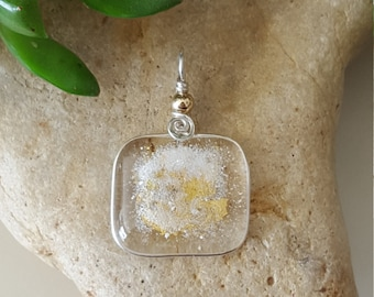 Beach sand jewerly, beach pendant, modern fused glass jewelry W/ 23K gold, and wire wrapped in Fine Silver. OOAK, focal pendant.