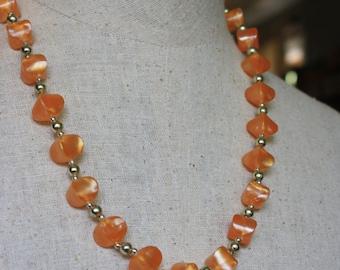 Vintage Orange Peach Necklace