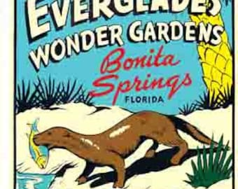 Vintage Style Bonita Springs Everglades  Florida  Travel Decal sticker