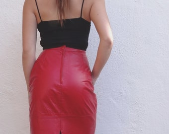 vintage red leather skirt // bright red leather midi skirt // womens xs leather skirt // red leather pencil skirt