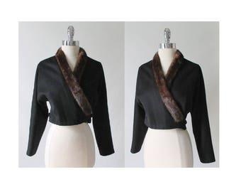 Vintage 50's Mink Trim Wool Jacket Cropped Bolero Coat S
