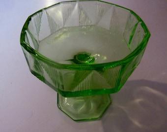 VERY RARE uranium green art deco footed sherbet