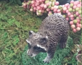 Fairy Garden Miniature Raccoon, Miniature Resin Raccoon For Miniature  Gardening, Fairy Garden Animals,