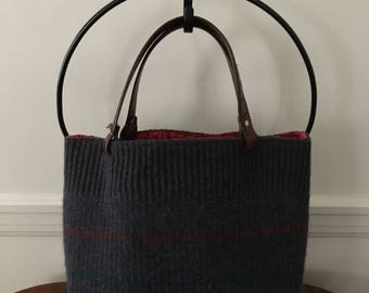 Striped Wool Felted Tote Bag