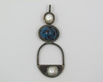 Silver pendant, Murano glass and pearl; Single piece.