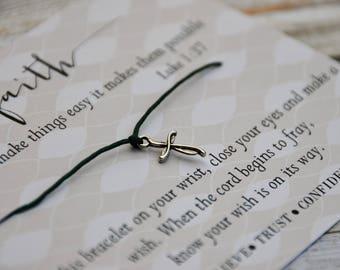 Faith Bracelet, Wish Upon Your Wrist, Wish Bracelet,  Cross Bracelet, Inspirational Bracelet, Prayer Bracelet, Faith Bracelet, Luke, Baptism