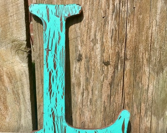 Painted wooden letters distressed wooden letter L High Tower font Free Shipping! Perfect for nursery, home & wedding decor,party decor, wall