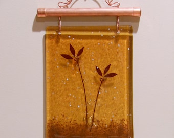 Two Flowers - Fused Glass Wall Hanging