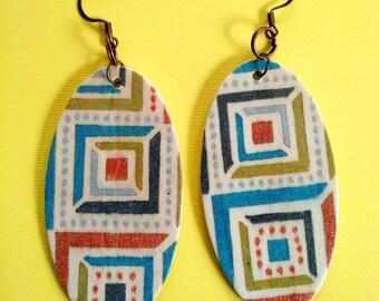 Aztec Pattern oval earrings