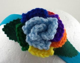 Crocheted Rose Headband - Light Blue and Rainbow Rose on Aqua Stretchy Headband (SWG-HH-MPRD01)