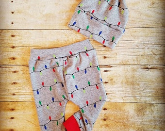 Infant Christmas outfit, baby shower gift, Christmas gift, jogger pants, top knot hat