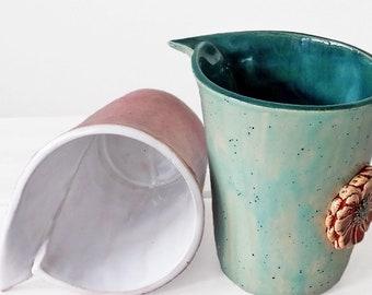 Set of 2 handmade pottery mug, ceramic mugs, coffee mug, tea mug, flower mug, mugs set, mugs pottery, mug handmade, large flower coffee mug