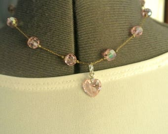 Delicate Pink Crystal Necklace with Pink Crystal Heart