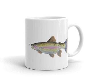 Rainbow Trout Fly Fishing gift mug art river