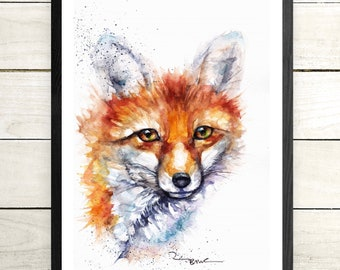 wall Gift Fox,Sale,Original Wildlife,Animal,Art Card Print Watercolour