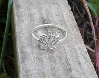 Lotus Ring, Solid Sterling Silver Lotus Flower Ring, Lotus Jewelry, Hindu Jewelry, Yoga Jewelry