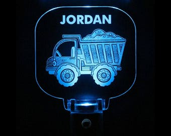 Dump Truck Night Light, Personalized, Gift for kids, Plug In, Choose color