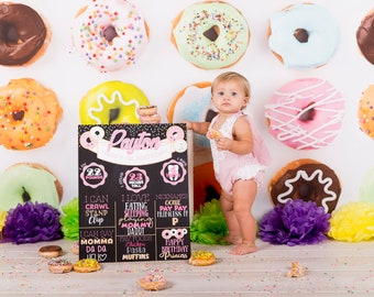 Donut Birthday Board - First Birthday - Any Age - Doughnut  Party - Sprinkles - Cake Smash - Printable or Photoshop into frame - 16x20