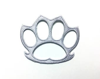 Gray Knuckle Duster Weapon Rings Biker Applique Iron on Patch Sew Free Shippingม Knuckle Duster Weapon Rings Biker
