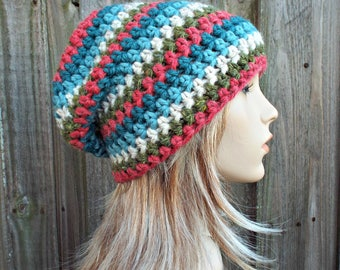 Christmas Remnant Crochet Hat Womens Hat - One of a Kind Remnant Slouchy Striped Beanie Hat Crochet Hat Winter Accessories - READY TO SHIP