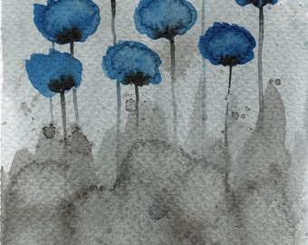 Watercolor Painting: Watercolor Flower Painting -- Art Print --  Head in the Clouds -- Blue Flowers -- 5x7
