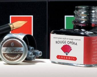 J. Herbin Fountain Pen Ink  -  Rouge Opera - 1 oz Bottle