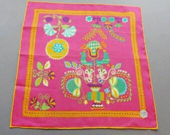 Vintage Swiss Cotton Hankie Handkerchief with Folk Pattern Unused with Tag