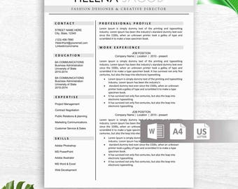 Modern Resume Template For Word, Creative, Modern Resume Design, Modern CV  Template For