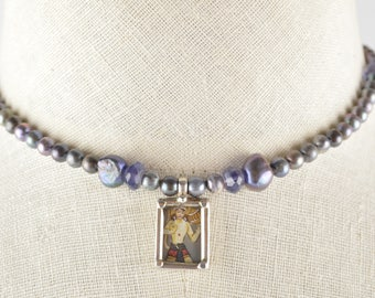 Pearl and Iolite Necklace with Hand Painted and Framed Buddha Pendant