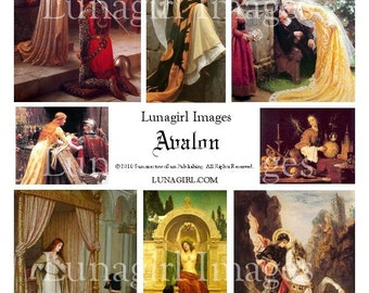 AVALON art digital collage sheet, vintage images medieval women goddess, King Arthur ladies fantasy magical altered crafts ephemera DOWNLOAD