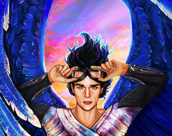 Blue Winged Angel Art Print, Colopatiron Art Print, Beautiful Angel Art Print, Guardian Angel Art, Fantasy Angel Art