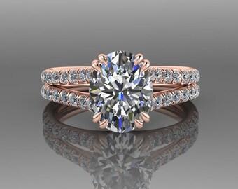 Moissanite Engagement Ring, Forever One Moissanite Ring, Oval Engagement Ring, Split Shank, 18K Rose Gold, Diamond Wedding Ring, RE67R
