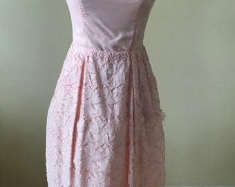 1950s pink party dress/ floral pink tulle