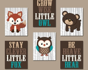 WOODLAND Nursery Wall Art, Woodland Nursery Decor, Forest Animals Wall Decor Forest Friends Owl Fox Bear Quotes Canvas or Print Set of 6 Art