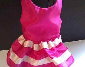 Hot pink small dog satin dress flowergirl, wedding, bridal, special occasion
