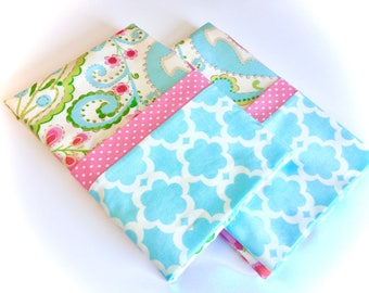 Floral pillowcases, Standard or Queen Pillowcases, Set of Two, Abstract Floral, Cotton, Handmade, Mothers Day Gift, by 8th Day Encore