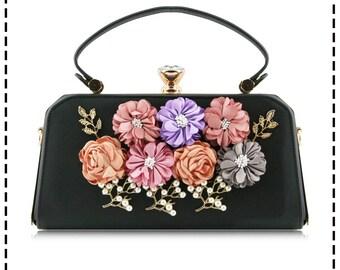 Stunning Fashionable 3D Floral Cross-body Bag Evening Bag Clutch Bag - 9021-1-200 Black