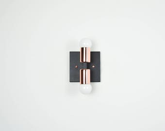 Matte Black and Copper Mixed Wall Sconce 2 Cylindrical Bulb Vanity Modern Mid Century Industrial Art Light Bathroom Powder Coated UL Listed