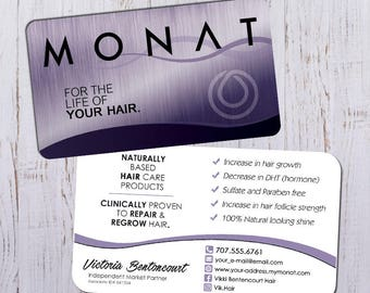 Monat Business Cards - Silver Purple Design with White Back - Durable 16pt - Rich Matte Finish -PRINTED and SHIPPED directly to YOU!