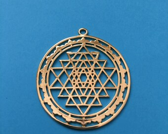 SRI YANTRA Gold Plated Hollow Pendant-Charms, Copper Meditation Mystical Charm