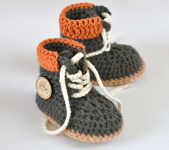 CROCHET PATTERN Baby Boy Booties Timberland Style Baby Booties ...
