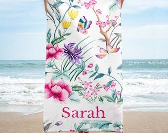 Flowers and Butterflies Personalized Beach Towel, Custom Beach Towel, Wedding Gift, Bridesmaid Gift, Beach Wedding Favor, Large Towel