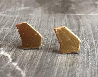 Brass Georgia state studs