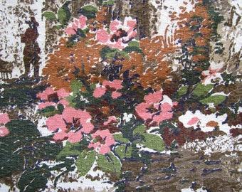 Vintage Barkcloth Fabric Cofabco Floral Pastoral Scenery