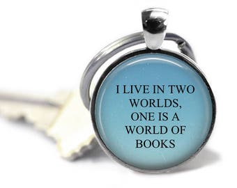 World of Books, Book Lovers Keychain, Gilmore Girls, Literary Jewelry, Literary Gift, Librarian Gift, English Teacher Gift, Gift For Readers