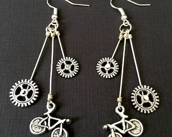 Silver Bicycle Long Earrings / Bicycle Earrings, Bike Earrings, Bike Jewelry, Bicycle Jewelry, Bicycle Gifts, Mountain Bike, Cyclist Gift