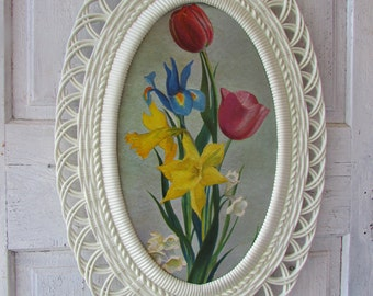 Winde fine prints floral by Ninetta  Kitchy print in Large 30 X 19  plastic oval frame