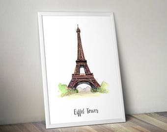 Eiffel Tower Print, Monument Poster, Art Print, Wall Art, Watercolor Painted Monument